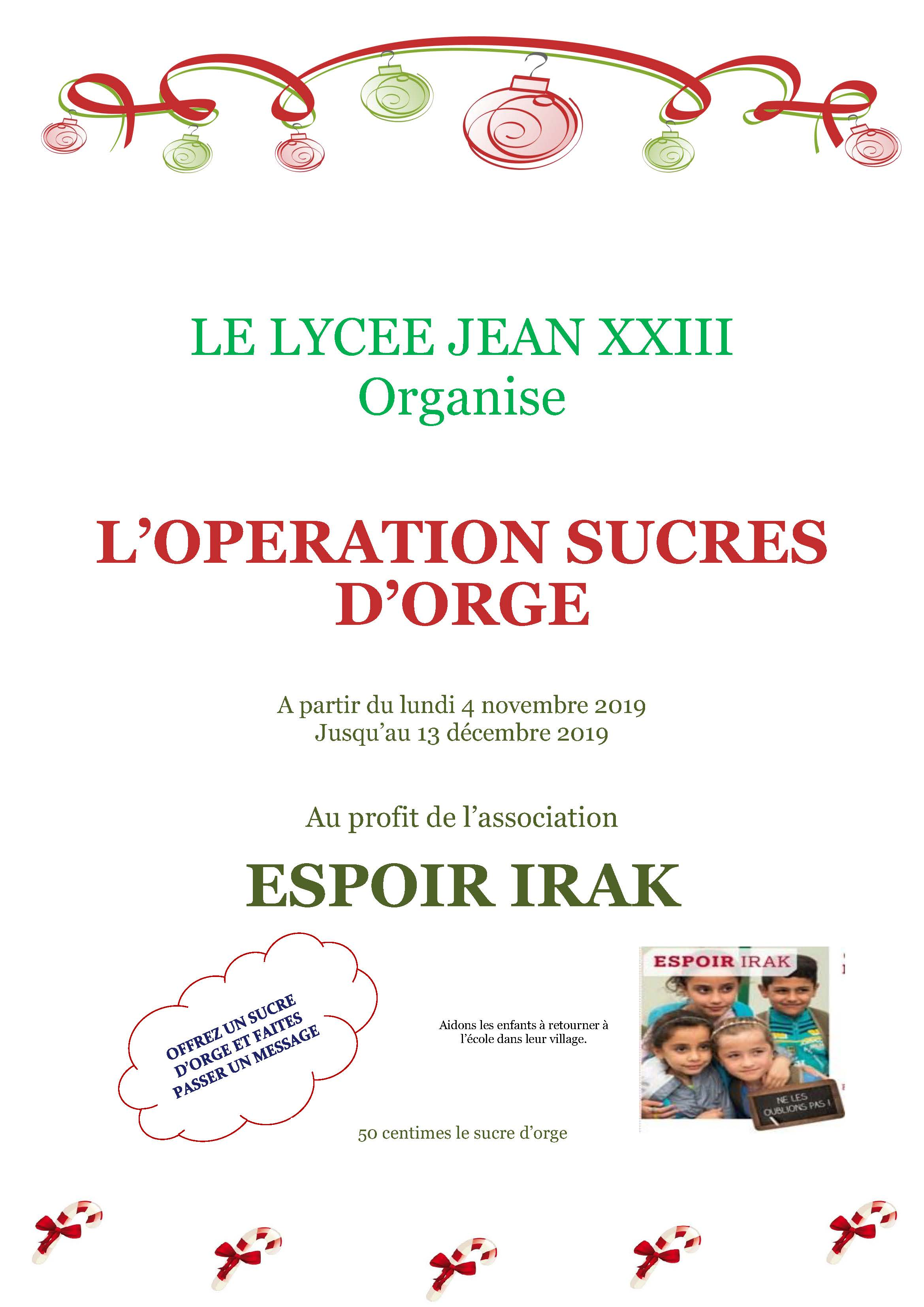 L'OPERATION SUCRES D'ORGE